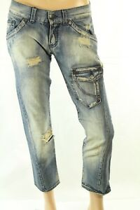 Sexy Woman's Blue Jeans Mid Rise Distressed Cropped Size 29