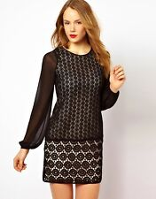 COAST SOPHETTE BLACK SHEER CHIFFON HEAVY GEO LACE 20'S SHIFT DRESS 16 BNWT £145