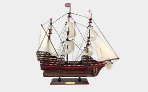 "24"" HMS MAYFLOWER UK GREAT BRITAIN BRITISH EMPIRE FLAG Wood Vintage Model Ship"