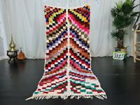 Vintage Handmade Moroccan Runner Rug 2'9x6'4Berber Checkered Colorful Cotton Rug