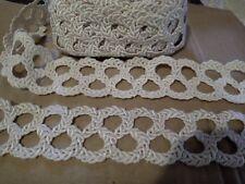 1m de dentelle tresse serrée col naturel  coton & viscose largeur 6 cm
