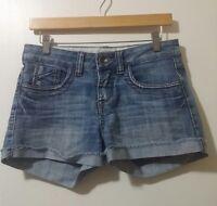 Dollhouse Jean Women's Shorts Size 5 Blue Denim Cuffed Pockets Distressed Zipup