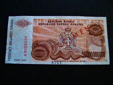 Kroatien  50 Mrd. Dinara 1993  Specimen !!  Kontroll-Nr. A 0000000  gebraucht !!