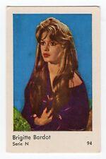 1960s Swedish Film Star Card Serie N #94 French Sex Symbol Brigitte Bardot