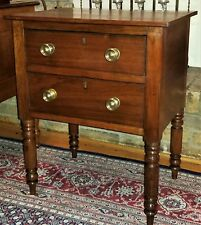 2 drawer Work Stand, nightstand, Mobile, AL, Sheraton, walnut, yellow pine, 1840