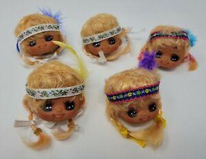 Lot 5 VTG Vinyl Craft Doll Heads Blonde Indian Native American Girl Anime Eyes