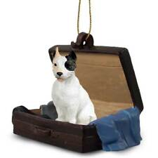 Pit Bull Terrier White Traveling Companion Dog Figurine In SuitCase Ornament