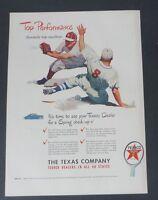 Original Print Ad 1948 TEXACO Top Performance Sports Baseball Vintage Art