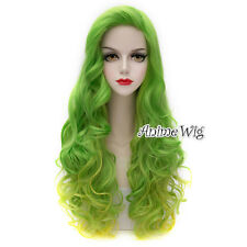 75CM Lolita Green Mixed Yellow Long Curly Ombre Party Gradient Cosplay Hair Wig