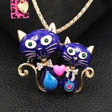 Betsey Johnson Cute Cat Heart Kitten Lovers Pendant Chain Necklace/Brooch Pin