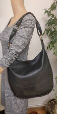 Russell & Bromley Vintage Black Thick Leather Shouder Bag Large VGC