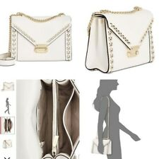 Michael Kors Whitney Studded Frame Shoulder Bag Optic White Gold