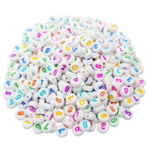 100 Pcs/Lot 7mm Acrylic Mixed Numbe DIY Loose Beads Spacer Beads Wholesale New