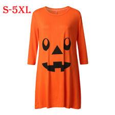 Pregnant Women Halloween Dress Pumpkin Print Maternity Party Shirt Dress Costume