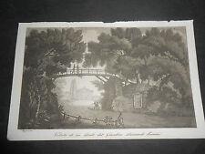 1833 ACQUATINTA GANDINI VEDUTA PONTE GIARDINO PICENARDI SOMMI PESCAROLO CREMONA