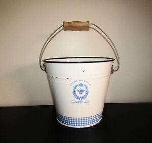 Large French Enamelware Graniteware Flower Bucket
