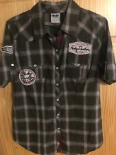 HARLEY DAVIDSON MULTI PATCH WOMENS MEDIUM BROWN  SNAP FRONT CASUAL S/S SHIRT