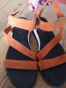 Womens NEXT Orange Leather Sandals Size 5 (38)
