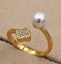 18K Gold Filled Adjustable Claw Opening Ring Freshwater Pearl Clover Women Size8