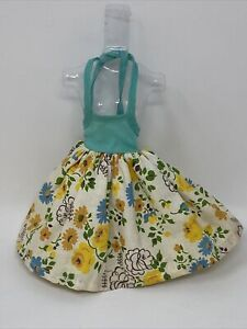 """Vintage 10 1/2"""" Doll Size CLONE Clothes Outfit FLORAL SUN DRESS Yellow Blue Teal"""