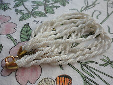 "Beautiful white glass double twist trio strand goldplated 16"" 21gram necklace."
