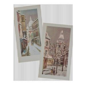 Maurice Utrillo - Pair Of Lithoprints (Large Size 22 X 11 inches)