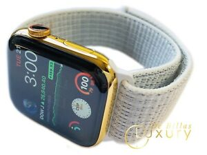 CUSTOM 24K Gold Plated 45MM Apple Watch SERIES 7 White Loop Band LTE+Blood O2
