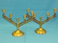 PAIR of VINTAGE ROSTAND ECCLESIASTICAL CHURCH ADJUSTABLE BRASS ALTAR CANDELABRA
