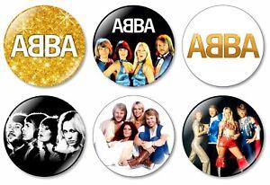 6 x ABBA 32mm BUTTON PIN BADGES Music Album Dancing Queen Arrival Best New Gold
