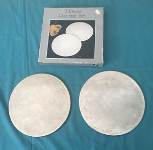 2 Silver Plated Placemats Etched (19.5cm Diameter) Original Packaging