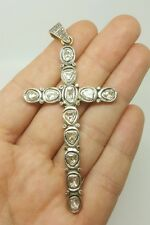 "Sterling Cross Pendant Men/Women 3.54"" Antique 2.60Ct Natural Old Flat Diamond"