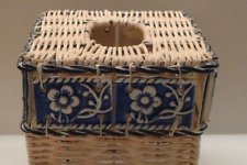 Wicker Box Cover, Natural Wicker Twisted Metal, Floral Tile Tissue Box Cover!