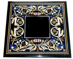 18 Inches Marble Bed End Table Top Black Side Table Top with Pietra Dura Art