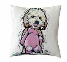 cockerpoo poodle puppy  DOG CUSHION COVER pup art watercolour bichon