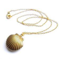 Women Cute Sea Shell Locket Chain Necklace Mermaid Pendant Jewelry,Gold