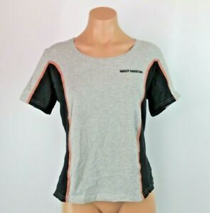 HARLEY DAVIDSON Women's Stretchy VTG 90s Embroidered Shirt USA MADE Biker SZ L