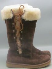 UGG Womens Brown Suede Lace Up Boots Sz 7 Shearling Cuff RARE