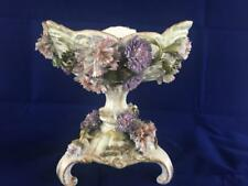 ANTIQUE 19th CENTURY DRESDEN HAND PAINTED PORCELAIN APPLIED FLOWER COMPORT.