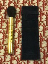Vintage CHRISTIAN DIOR Powder. Blush Brush GOLD STEM/BLUE VELVET CASE SIGNED