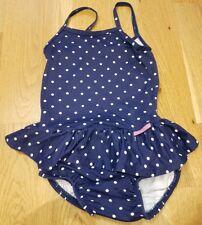 JoJo Maman Bebe 1-2 years girls swimsuit with nappy costume frill blue polka dot