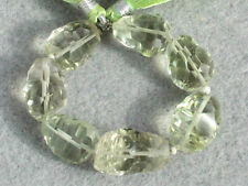 AAA Natural Green Amethyst Faceted Concave Nugget Gemstone Beads (96080)