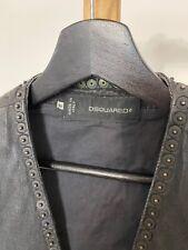 Dsquared2 Sleeveless Denim Coated Studded Black Jacket Dsquared Reteil $800