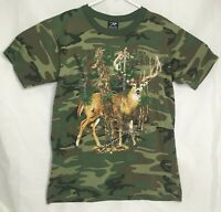 Rothco Mens Size Medium Woodland Camo Tee Whitetail Deer Graphic T-Shirt