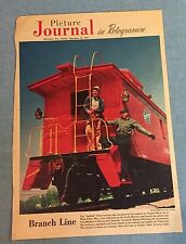 Vtg 1954 Milwaukee Journal Red Caboose North Western rd branch line photo
