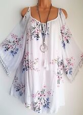 New Lagenlook White Floral cold shoulder Tunic Dress Top uk 20 22 24 26