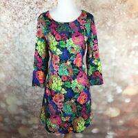 I Madeline Womens Floral Pink Black 3/4 Sleeve A Line Dress Size Medium M Pocket