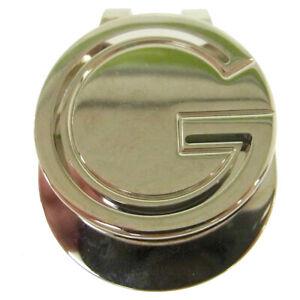 GUCCI GG Logos Money Clip Silver Italy Vintage Authentic AK31828i