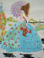 Glorious Vintage Heavily Hand embroidered Crinoline Lady panel - Parasol