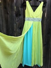 Vintage Early 1960s Lime Green and Light Turquoise Silk Chiffon Gown Small