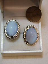 Vtg Sterling Silver Uncas CC Blue Gray Moonglow Glass Cab Screw Earrings 7e41